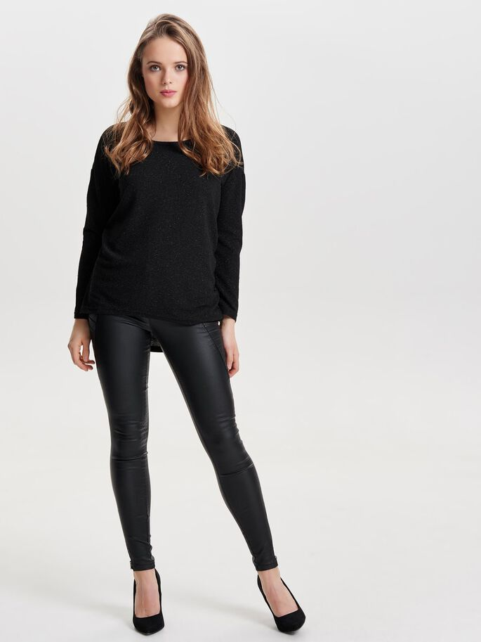 LØS TOP MED LANGE ÆRMER, Black, large