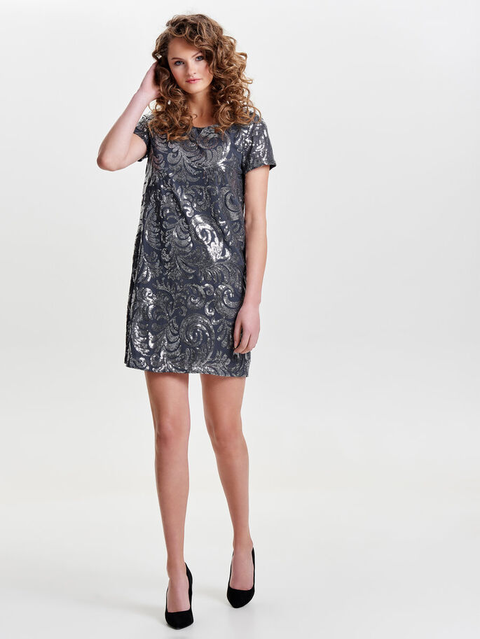 SEQUINS SHORT SLEEVED DRESS, Ombre Blue, large