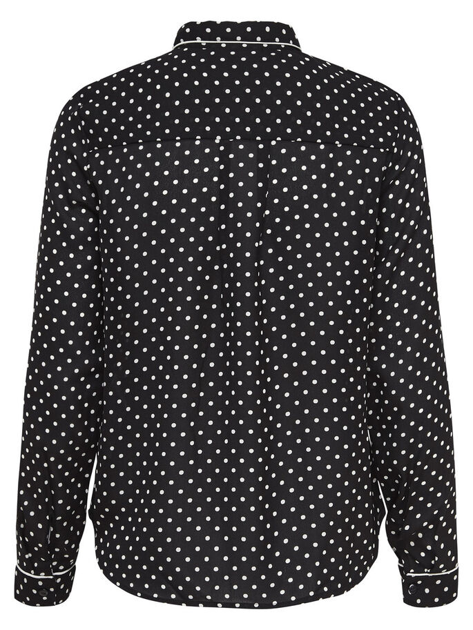DOTTED LONG SLEEVED SHIRT, Black, large