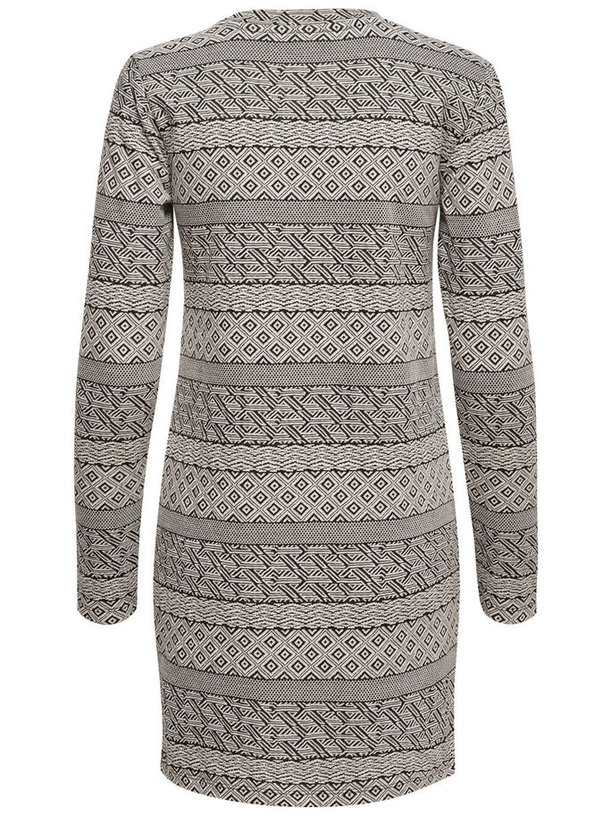 PRINTED LONG SLEEVED DRESS, Black, large