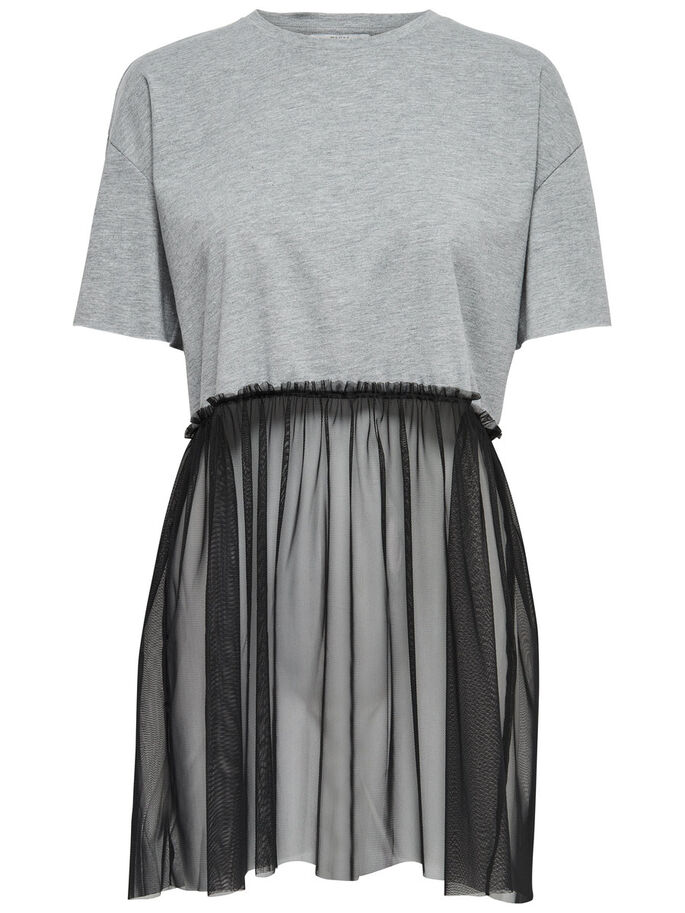 PLEATED SHORT SLEEVED TOP, Light Grey Melange, large