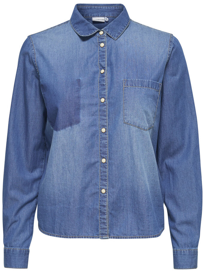 SHORT DENIM SHIRT, Medium Blue Denim, large