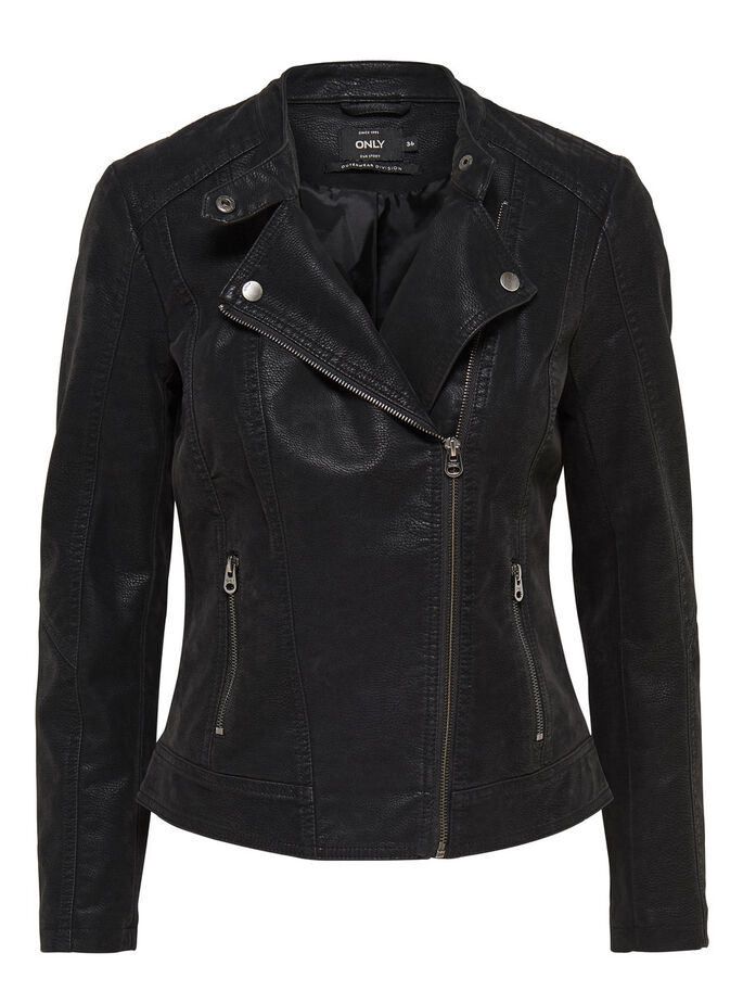 MOTARD SIMILI CUIR VESTE, Black, large