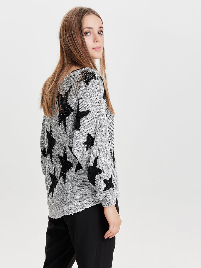 STAR KNITTED PULLOVER, Dark Silver Colour, large