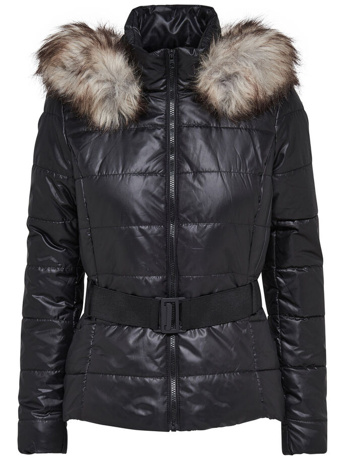 NYLON- STEPPJACKE, Black, large
