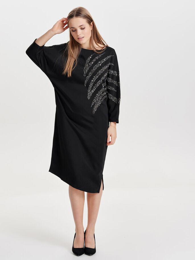 BATSLEEVE DRESS, Black, large