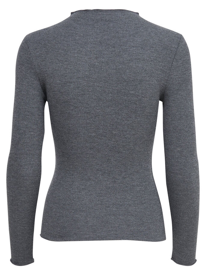 RIBBED 3/4 SLEEVED TOP, Dark Grey Melange, large