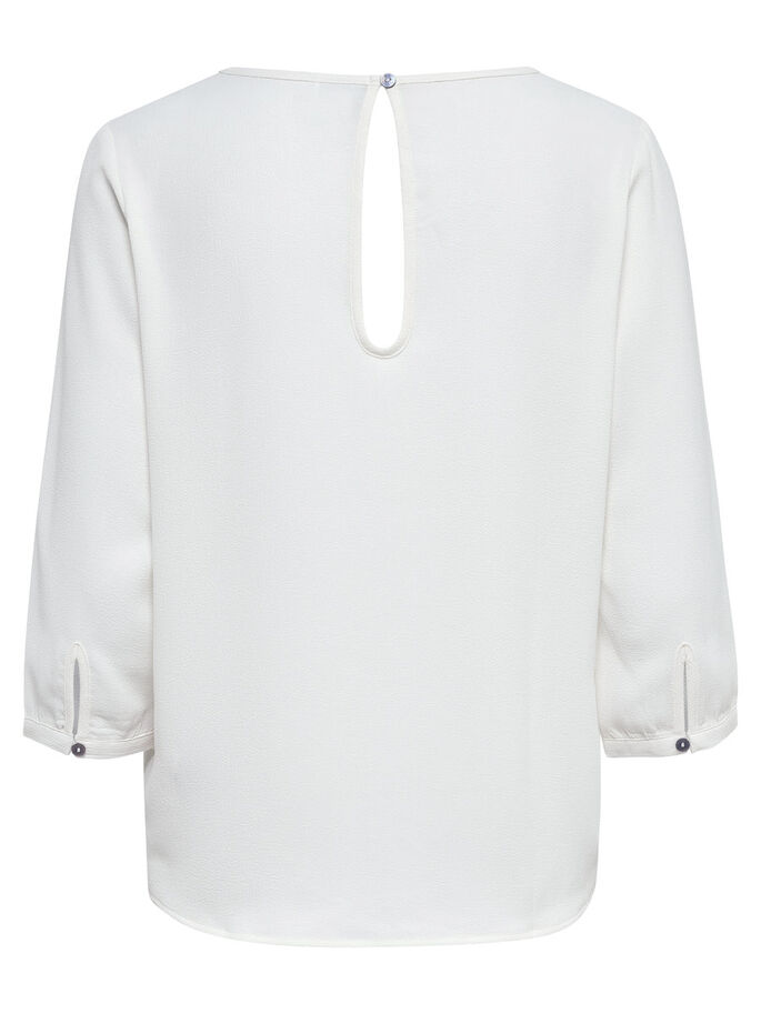 RUIMVALLEND SHIRT MET 3/4 MOUWEN, Cloud Dancer, large