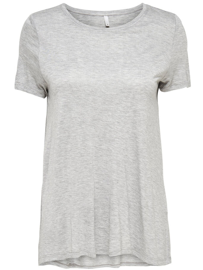 RUIMVALLENDE TOP MET KORTE MOUWEN, Light Grey Melange, large