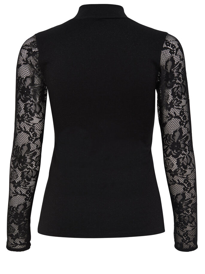 KANTEN TOP MET LANGE MOUWEN, Black, large