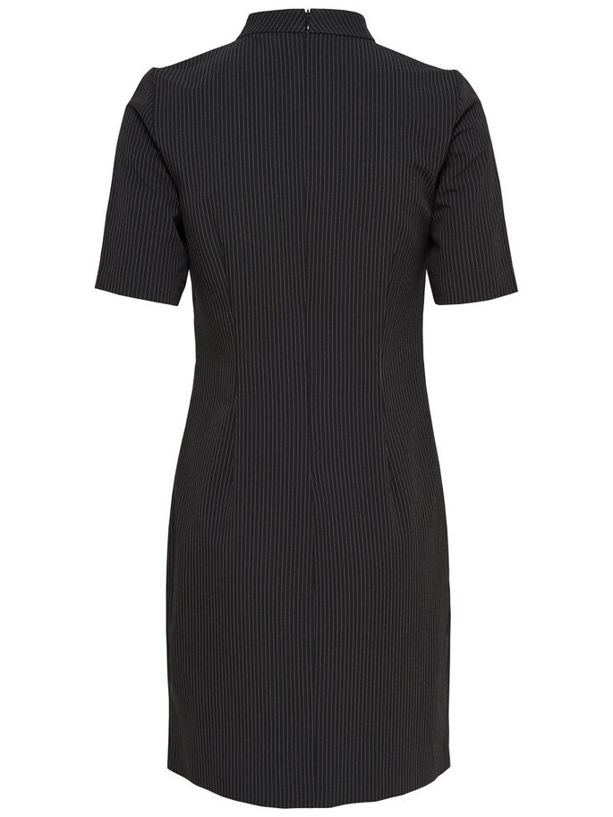 PINSTRIPE HIGH NECK DRESS, Black, large