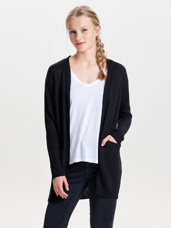 LØS STRIKKET CARDIGAN, Black, large