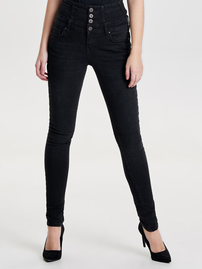 CORAL CORSAGE JEANS SKINNY FIT, Black, large