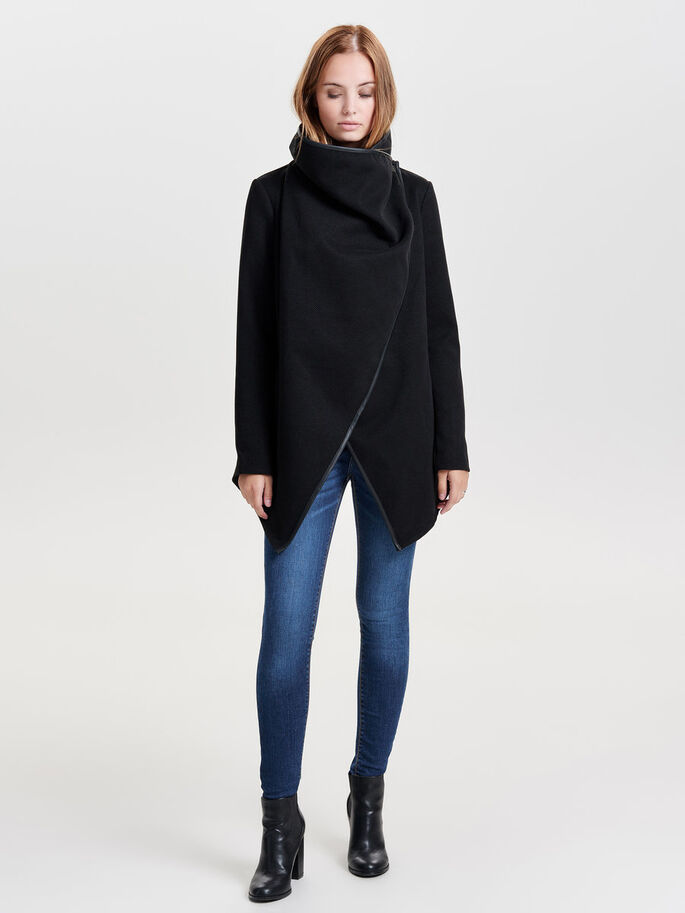 OVERSIZED GEDRAPEERDE JAS, Black, large