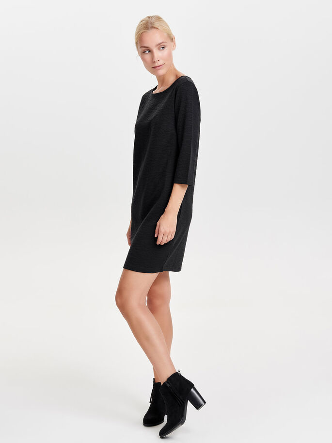 3/4 SLEEVED SWEAT DRESS, Black, large