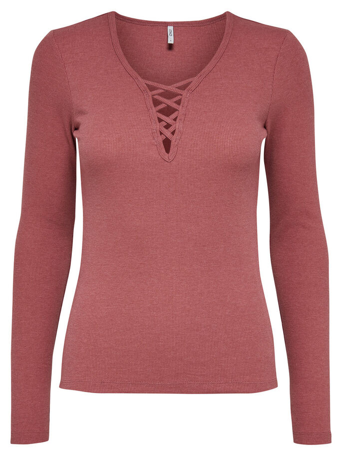 LACE-UP TOP MET LANGE MOUWEN, Withered Rose, large
