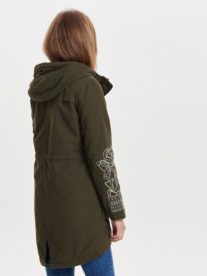 DETAILED PARKA COAT, Beech, large
