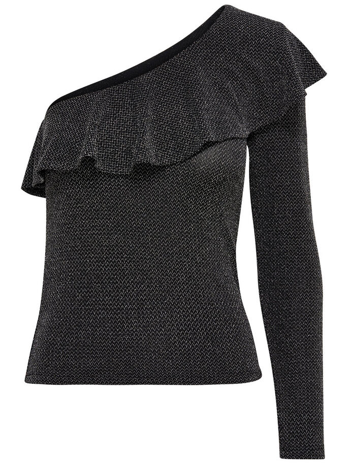 ONE-SHOULDER TOP MED LANGE ÆRMER, Black, large