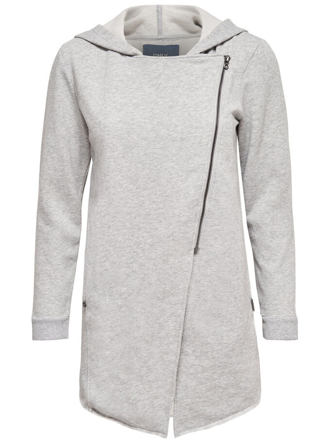 SWEAT- STRICKJACKE, Light Grey Melange, large