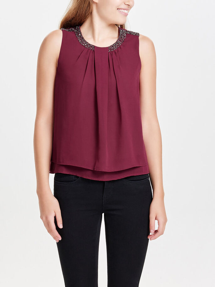 DETAILED SLEEVELESS TOP, Rhododendron, large