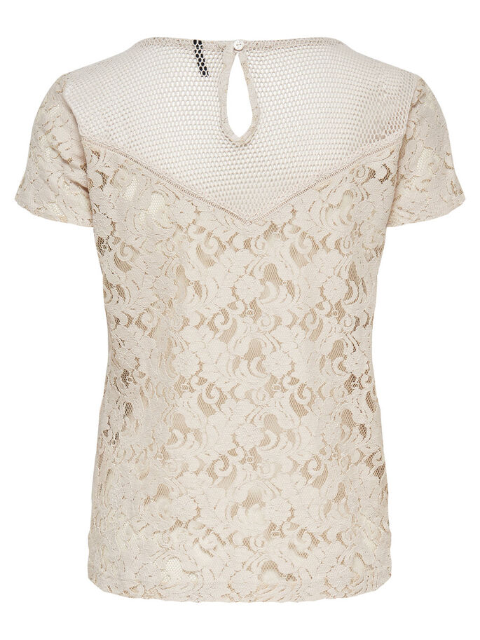 LACE SHORT SLEEVED TOP, Pumice Stone, large