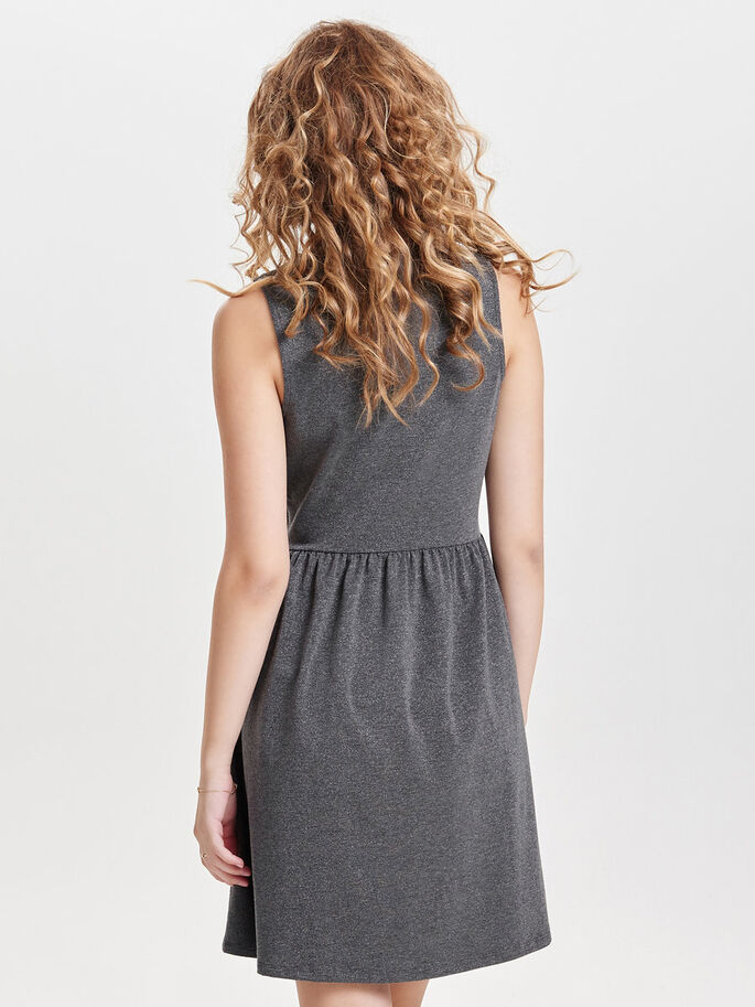 DETAILED SLEEVELESS DRESS, Dark Grey Melange, large