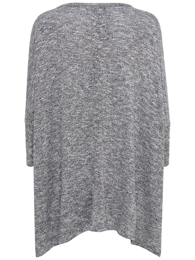 OVERSIZE KNITTED TOP, Light Grey Melange, large