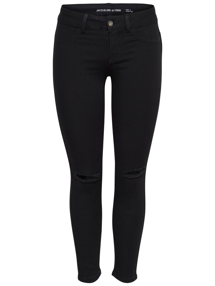 LOW FANO KNEECUT SKINNY FIT JEANS, Black, large