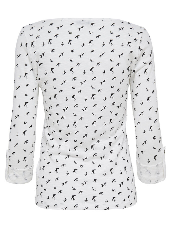 MØNSTRET 3/4 SLEEVED TOP, Cloud Dancer, large