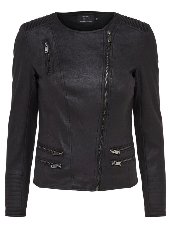 SUEDE LOOK JACKET, Black, large