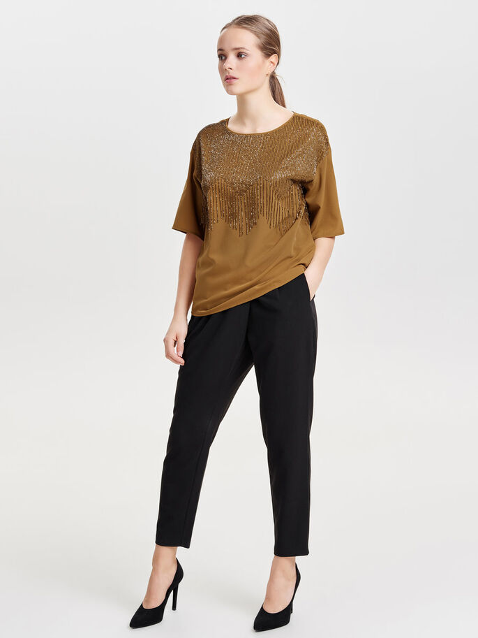 PAILLET BLUSE MED 2/4-ÆRMER, Bronze Brown, large