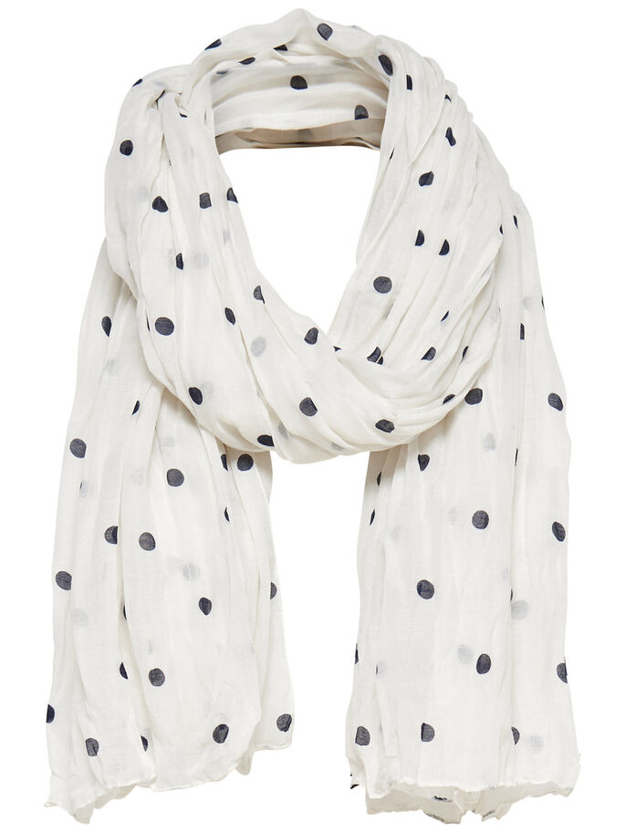 DOTTED SCARF, Cloud Dancer, large