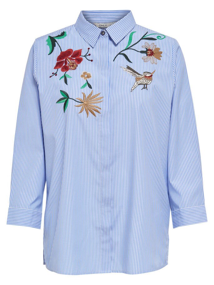 EMBROIDERY 3/4 SLEEVED SHIRT, Light Blue, large