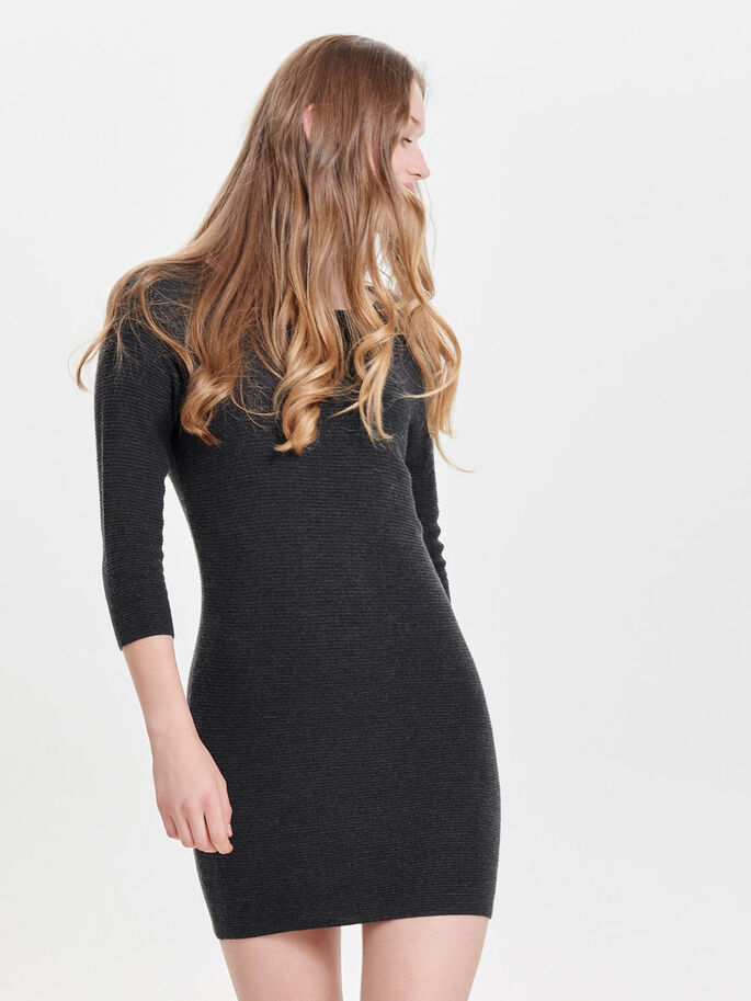 DETAILED KNITTED DRESS, Dark Grey Melange, large