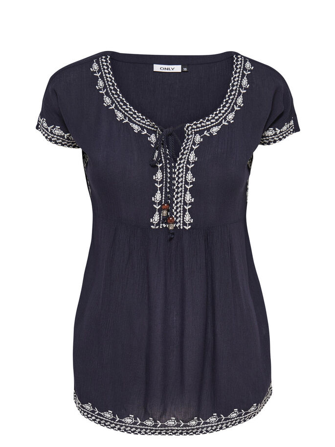DETAILED SHORT SLEEVED TOP, Night Sky, large