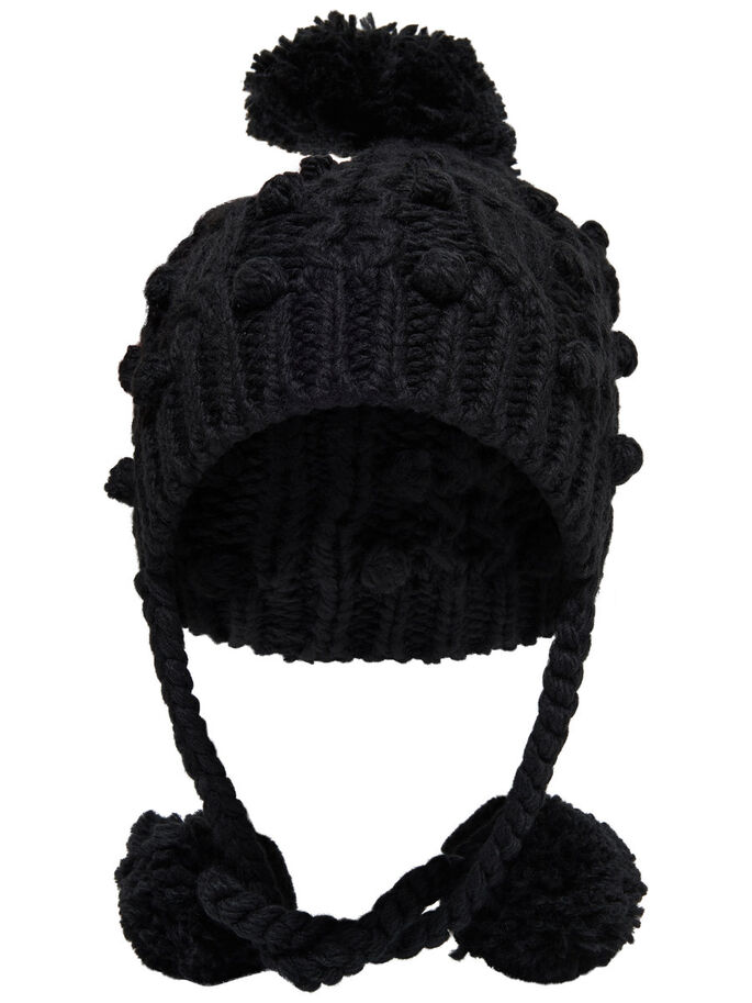 KNITTED HAT, Black, large