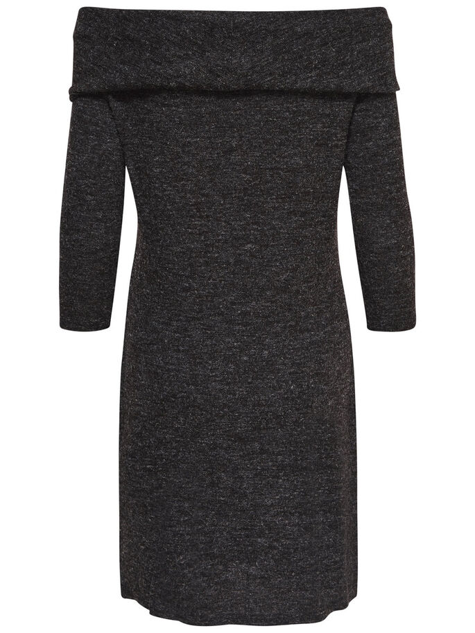 SOLID LONG SLEEVED DRESS, Dark Grey Melange, large