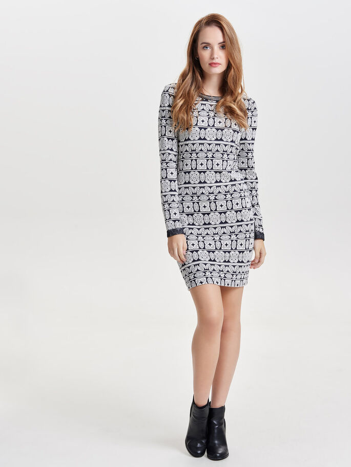 PATTERNED LONG SLEEVED DRESS, Night Sky, large