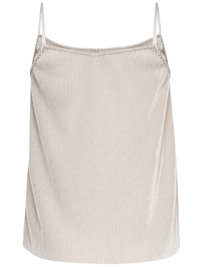 PLEATED SLEEVELESS TOP, Whitecap Gray, large