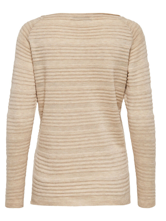 DETAILED KNITTED PULLOVER, Oatmeal, large