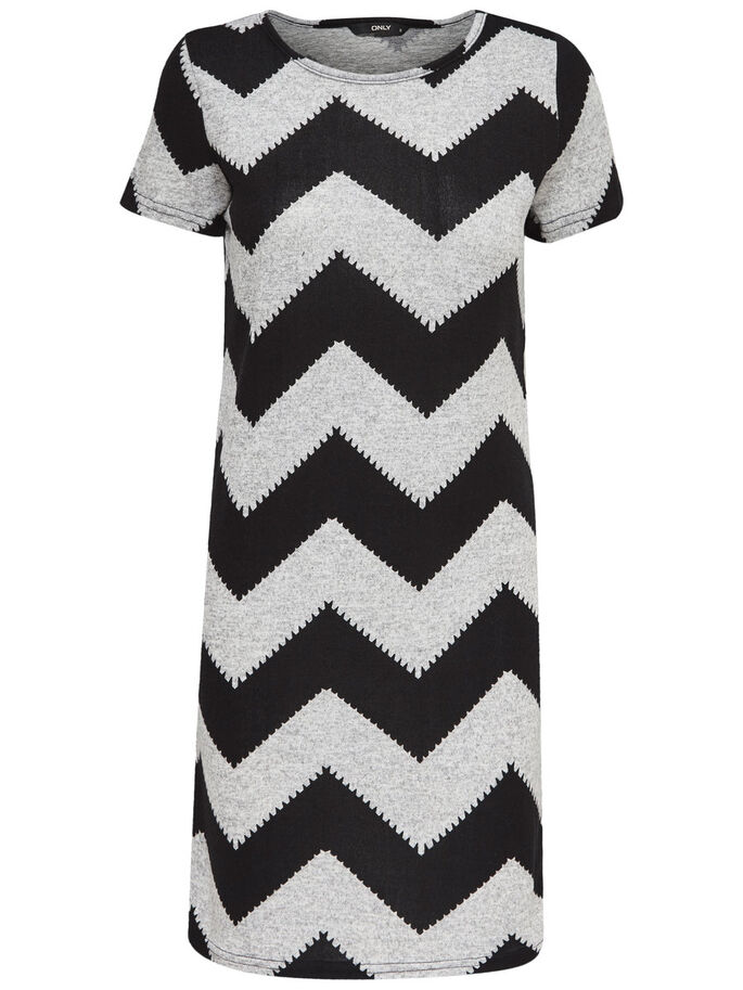 ZIGZAG KORTÆRMET KJOLE, Light Grey Melange, large
