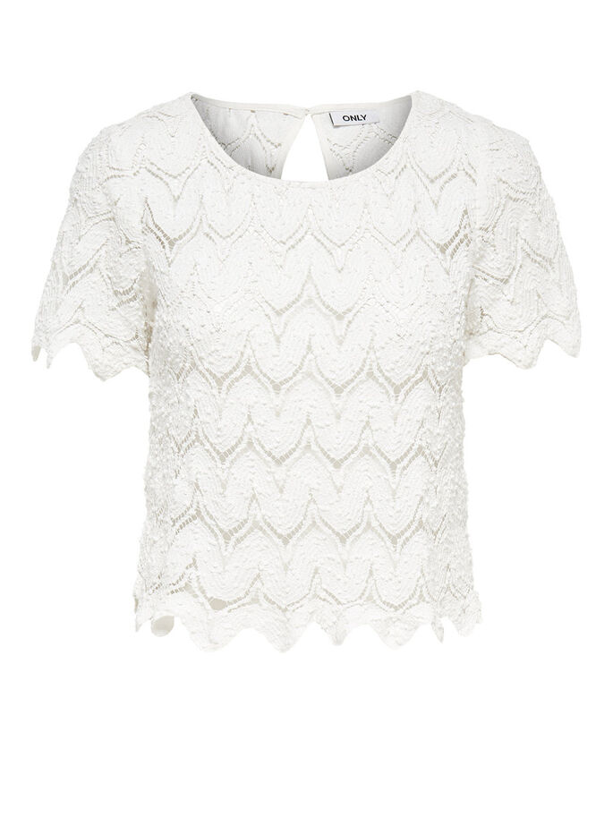 CROPPED LACE SHORT SLEEVED TOP, Cloud Dancer, large
