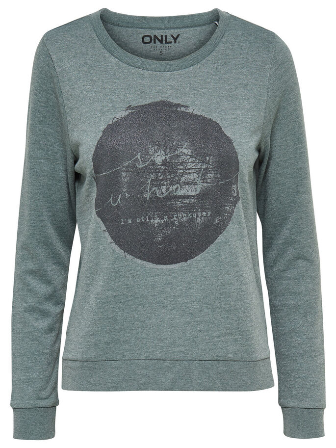 PRINTED SWEATSHIRT, Balsam Green, large
