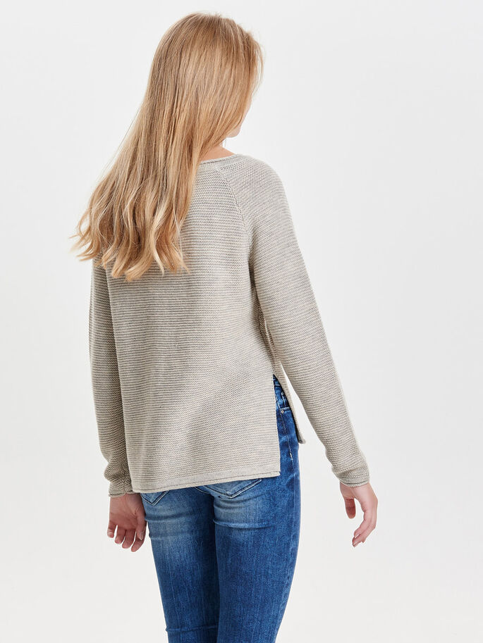 DOTTED KNITTED PULLOVER, Whitecap Gray, large
