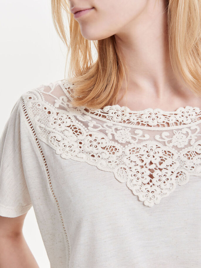 LACE DETAIL SHORT SLEEVED TOP, Oatmeal, large