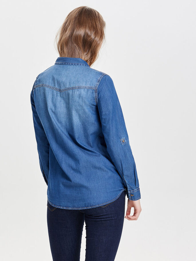 LÄSSIGES JEANSHEMD, Medium Blue Denim, large
