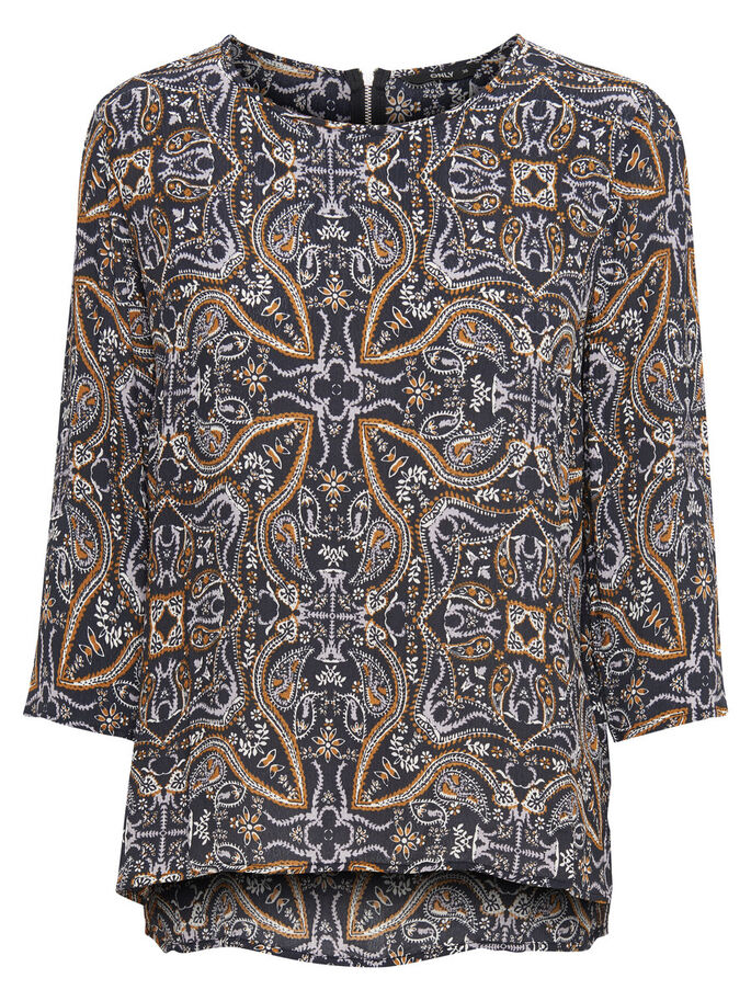 PRINT TOP MET 3/4 MOUWEN, Black, large