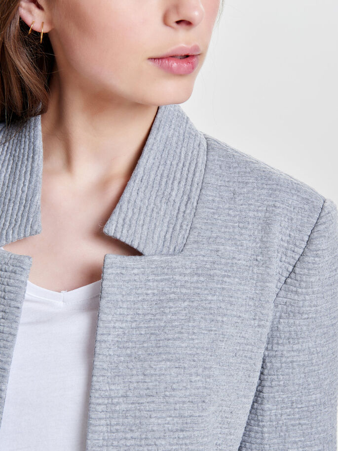 BLAZER JACKET, Light Grey Melange, large