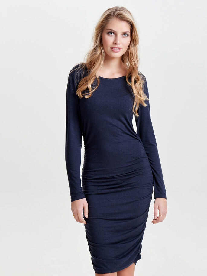 DRAPY LONG SLEEVED DRESS, Night Sky, large