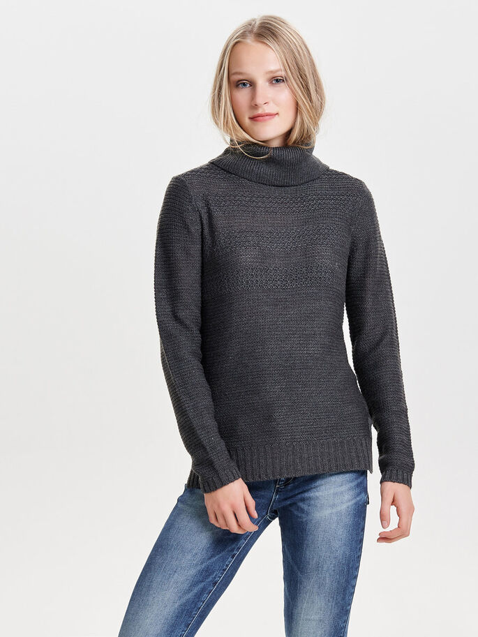 ROLLNECK GEBREIDE TRUI, Dark Grey Melange, large
